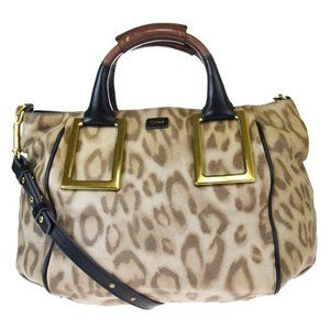 CHLOE Logo Ethel Leopard 2Way Shoulder Hand Bag